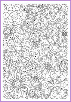 Adults and children Coloring page PDF, printable doodle flowers, zendoodle (zentangle) inspired $3.00 USD