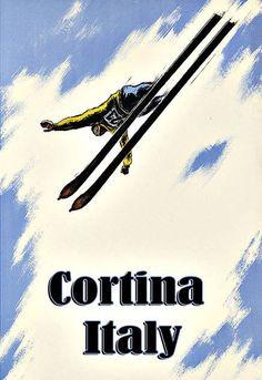 Art Ad Cortina Italy Ski Skiing Travel Deco Poster Print