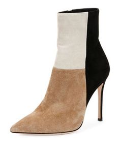 Gianvito Rossi Patchwork Suede Ankle Boot Fall 2015
