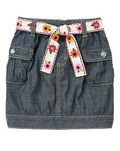 Embroidered Flower Belt Chambray Skirt (Gymboree 3-12y)