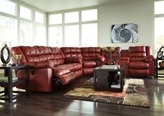 AUBURN - 3pcs Red Bonded Leather Recliner Sofa Couch Sectional Set Living Room #Handmade #Contemporary