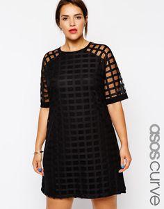 ASOS Curve | Vestido de corte recto de malla estilo rejilla exclusivo de ASOS CURVE en ASOS
