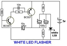the same time, some of the energy is passed to the inductor so that the LEDs are not damaged. When the transistor is turned off, the energy from the inductor also gives a pulse of energy to Basic Electronic Circuits, Electronic Circuit Projects, Electronic Schematics, Electronic Engineering, Simple Electronics, Electronics Basics, Electronics Components, Electronics Projects, Electrical Circuit Diagram