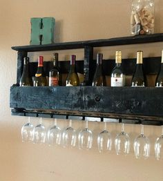 Reclaimed Wood Wine Rack with Top Shelf | Only salvaged, reclaimed wood was used to build this wine rack... | Wall Shelves & Ledges