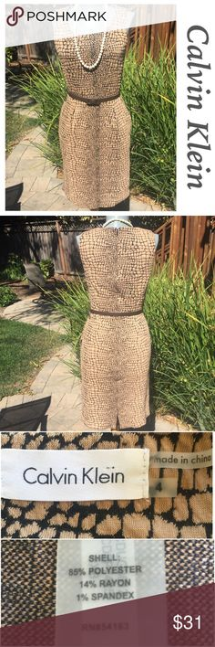 "Calvin Klein dark and light brown dress. Chic. Calvin Klein dark and light brown dress. Chic. Soft comfy fabric with just a perfect amount of stretch to give you a great look. Bust 32"". Waist 28"". Hips 38"".  Style statement. Calvin Klein Dresses"