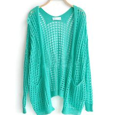 Light Green Pockets Front Open Mesh Stitch Sweater Cardigan ($38) ❤ liked on Polyvore featuring tops, cardigans, outerwear, sweaters, green, blue cardigan, long sleeve cardigan, blue top, print cardigan and long blue cardigan