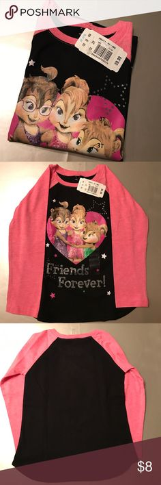 Alvin And The Chipmunks Girls long sleeve T-Shirt Friends forever! Size 3T Brand new with tags Shirts & Tops Tees - Long Sleeve
