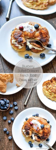 Decadent Blueberry Stuffed Croissant French Toast with Bacon. Dessert - I mean breakfast! YUM.