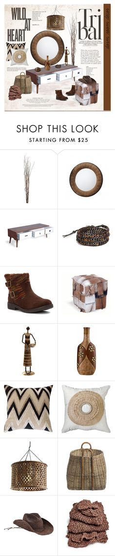 Tribal Style by cruzeirodotejo on Polyvore featuring interior, interiors, interior design, home, home decor, interior decorating, Arteriors, NKUKU, Bandhini Homewear Design and Cal Lighting