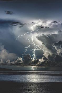 Lightning hitting the ocean