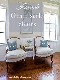 French grain sack chairs