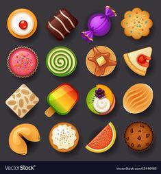 Fruit Icons, Food Icons, Web Design, Game Design, Flat Design, Cartoon Cupcakes, Dessert Games, Cake Icon, Cute Food Art