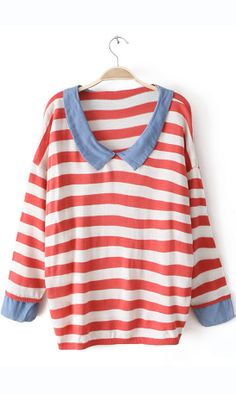 Cowboy collar striped  sweater red #AHAI #WOMEN #FASHION