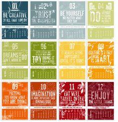 2014 Letterpress calendar . The creative manifesto by Barral Fabien, via Behance