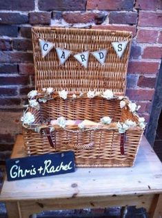 Use my old picnic basket to create a similar crd basket for the wedding, shabby chic wedding post box idea Wedding Post Box, Wedding Hire, Card Box Wedding, Wedding Stationary, Wedding Favours, Diy Wedding, Wedding Planning, Wedding Gifts, Wedding Ideas