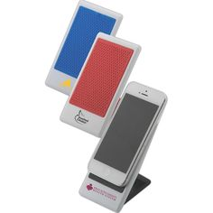 "Plastic Cell Phone Holder -- Never miss a message when you keep your cellular phone visible on your desk with our Plastic Cell Phone Holder. This handy item measures 2 1/2"" x 4 3/4"" and features a soft rubber grip that will hold your cell phone in place. Functioning as a stand, this item keeps your phone upright and within your eye line. You'll never miss a phone call from the doctor's office or text message from a family member again! This piece is silkscreened with your logo."