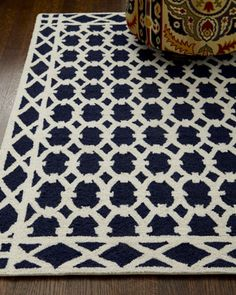Small Navy and Ivory Rug Hand-hooked wool rug features a white lattice pattern against a dark navy ground for truly dramatic impact. Dry clean only. x Imported. Coastal Entryway, Coastal Rugs, Coastal Decor, Coastal Curtains, Modern Coastal, Coastal Farmhouse, Coastal Cottage, Coastal Style, Coastal Chandelier