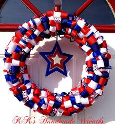 Red White and Blue Ribbon Wreath by KKsHandmadeWreaths on Etsy