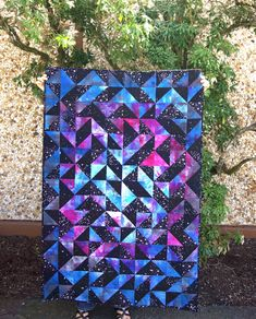 Galaxy Quilt - Glow in the Dark Backing Galaxy Quilt - Glow in the Dark Backing Patchwork Quilt Patterns, Scrappy Quilts, Baby Quilts, Quilting Fabric, Quilting Projects, Quilting Designs, Quilting Ideas, Modern Quilting, Half Square Triangle Quilts Pattern