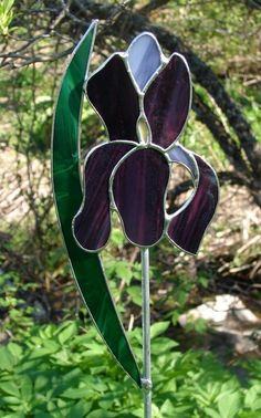 Stained Glass Iris Garden Stake