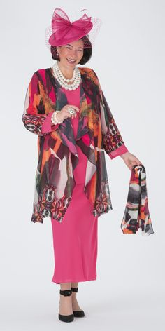 Box 2 bright multi voile waterfall jacket, 3/4 sleeve top and skirt
