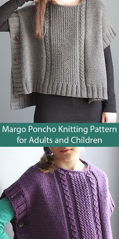 Knitting Pattern for Margo Poncho for Adults or Children - Pullover poncho open at sides and buttoned together. Worked flat in two pieces (front and back). Both the front and back feature an easy faux… Knit Vest Pattern, Poncho Knitting Patterns, Cable Knitting, Knitted Poncho, Knitted Shawls, Knitted Blankets, Aran Weight Yarn, Bead Sewing, Make Your Own Clothes