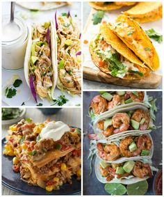 Slow Cooker Ranch Chicken Tacos, Oven Baked Buffalo Chicken Tacos,Easy Bake Taco Pie, and Chili Lime Shrimp Tacos - 52 Weeks of Taco Tuesday Recipes - One Year of Taco recipes on Frugal Coupon Living.