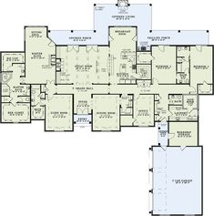 All on one floor! Personal changes: make the office into a fourth bedroom, turn the jack & jill bathroom into two bathrooms, make the guest room a combination library/guest room with entry from the foyer and hallway, add a basement and move the fema-approved safe room there for increased weather protection. Full front porch and make the kitchen a large eat in kitchen?
