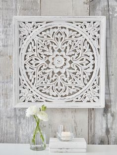 Our beautifully carved, square wooden wall panel makes a true style statement. Our beautifully carved, square wall panel makes a true style statement. Wall Panel Design, Metal Wall Panel, Wooden Wall Panels, Wooden Wall Decor, Wooden Walls, Wall Mirrors Uk, Carved Wood Wall Art, Moroccan Decor, Home And Deco
