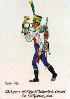 Cornetta della compagnia volteggiatori del 9 rgt. di fanteria di linea polacco, 1812