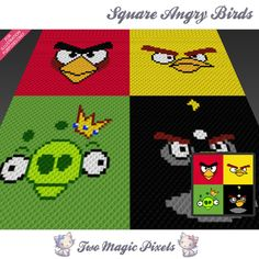 Square Angry Birds crochet blanket pattern; c2c, knitting, cross stitch graph; pdf download; no written counts or row-by-row instructions by TwoMagicPixels, $3.79 USD