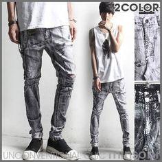 minsobi Men's destroy denim pants – exclusive bicoloured vintage jeans (bot-7774)