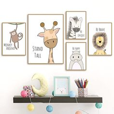 Inspirierende Zootiere Leinwand Wandkunst You are in the right place about baby room decor poster Here we offer you the most beautiful pictures about the … Nursery Canvas Art, Nursery Prints, Canvas Wall Art, Bedroom Canvas, Mural Wall, Canvas Frame, Safari Nursery, Woodland Nursery, Woodland Animals