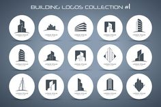 Building logos collection #1 by LogotypeMarket on Creative Market