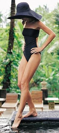 Classy Swim- Black one piece or Bikini with matching floppy hat. Never goes out of style, and always looks amazing.