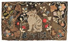 "Hooked Rug with Cat and Date ""1885,"" - Current price: $300"