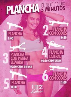 ¿5 minutos libres? Mejora tus abdominales haciendo la plancha. #deporte #abdominales #infografia