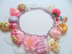 Cute Kawaii Purple Sweetie Candy Pink Charm Bracelet by Clotique