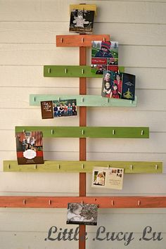 Here are the best holiday DIY Christmas Card Holders! They include wire Christmas card holders perfect for showing off holiday cards, memo boards, and more! Creative Christmas Trees, Wooden Christmas Trees, Noel Christmas, Christmas Projects, Winter Christmas, Holiday Crafts, Holiday Fun, Christmas Decorations, Wooden Tree