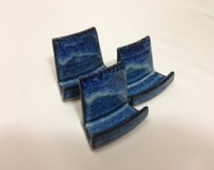 Handmade Pottery. Business Card Holder. Bright by OlliePotteryEtc