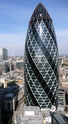 30 St. Mary Axe, AKA The Gherkin is one of London's most recognizable buildings along with Big Ben.