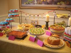 Dr. Seuss party food.  Mini Green Egg & Ham Quiches, Grinch Dip (spinach dip), Poodle Noodles (pasta salad), Deviled Green Eggs, and more!