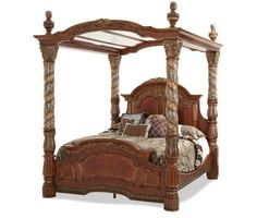 AICO Furniture - Villa Valencia King Poster Bed with Canopy in Chestnut - Canopy Bedroom Sets, Canopy Bed Frame, Canopy Beds, Bedrooms, Bedding Sets, Canopies, Master Bedroom, Wood Canopy, Royal Bedroom