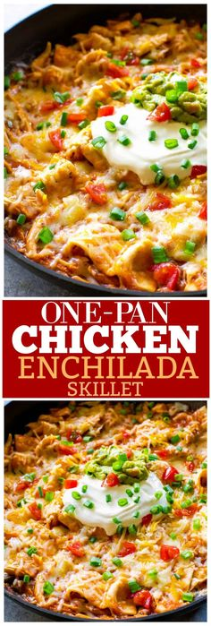 This easy One Pan Chicken Enchilada Skillet can be ready in 10 minutes! Seriously such a tasty Mexican dinner recipe. #enchiladas #dinner #Mexican the-girl-who-ate-everything.com