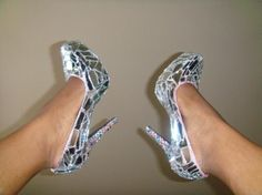 "DIY Mirror Mirror on the Shoe"" is a design done with all mirrors pieces and with any color rhinestones you pick on the heel of the shoe. Your very own glass slipper"