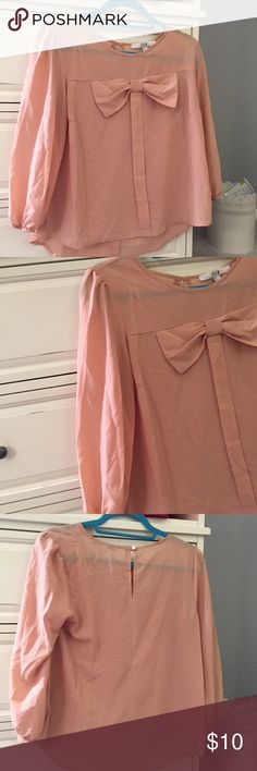 f21 bow 3/4 sleeve chiffon top Worn a couple of times- in perfect condition Forever 21 Tops Blouses