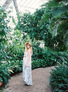Eb photography + artistry Alabama, Birmingham Botanical Gardens boho floral garden maternity session, film contax645 fuji 400h