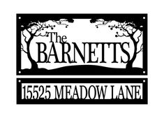 Custom Family Name and Address Metal Signs - Black, Cherry Tree, Outdoor Sign, Custom Sign, Address Sign, Name Sign