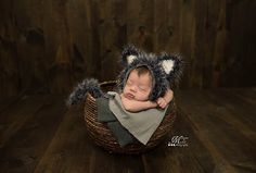 Newborn Baby Wolf Bonnet Hat and Tail Photo Prop Pattern by AMKCrochet.com