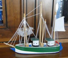 MAQUETTE BATEAU PECHE ANCIEN A VOILE EN BOIS OBJET DECORATION BORD DE MER Decoration Vitrine, Not Found, Model Ships, Veil, Objects